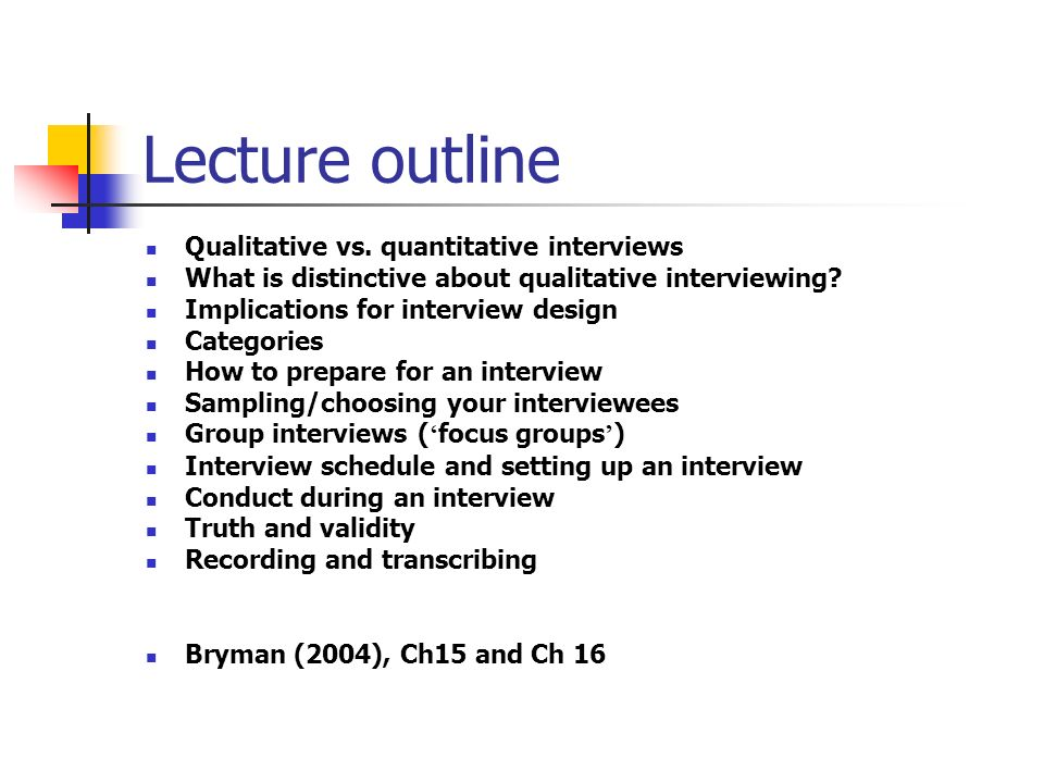 Lecture outline Qualitative vs.