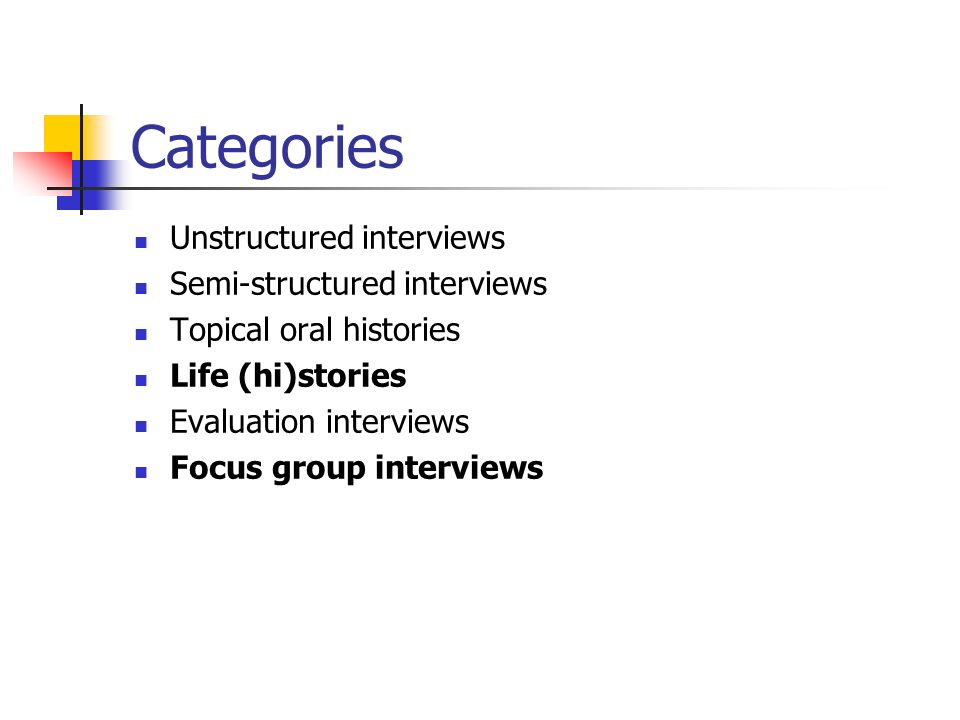Categories Unstructured interviews Semi-structured interviews Topical oral histories Life (hi)stories Evaluation interviews Focus group interviews