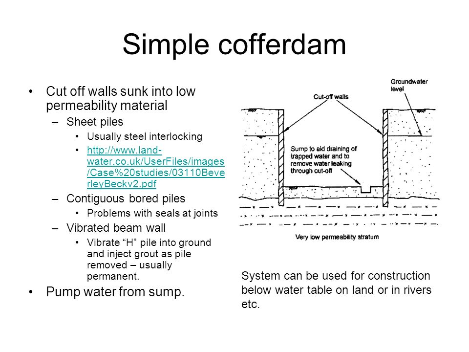 Simple cofferdam Cut off walls sunk into low permeability material –Sheet piles Usually steel interlocking http://www.land- water.co.uk/UserFiles/imag