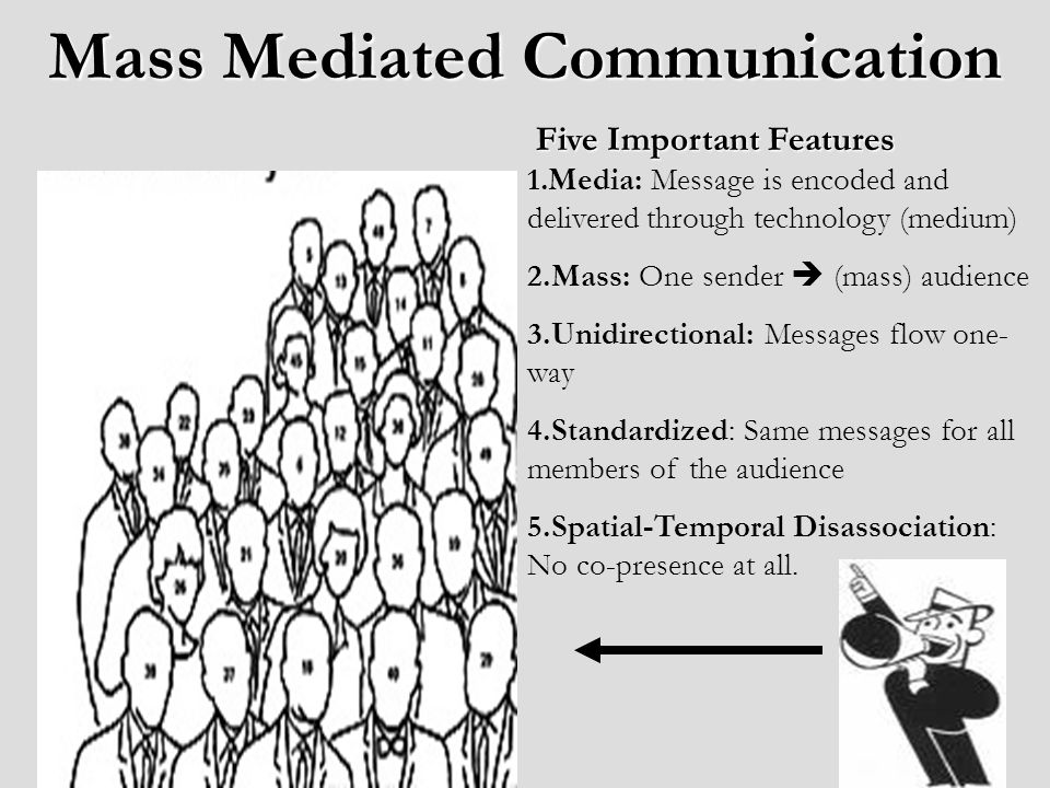 Mass Mediated Communication 1.Media: Message is encoded and delivered through technology (medium) 2.Mass: One sender (mass) audience 3.Unidirectional: Messages flow one- way 4.Standardized: Same messages for all members of the audience 5.Spatial-Temporal Disassociation: No co-presence at all.