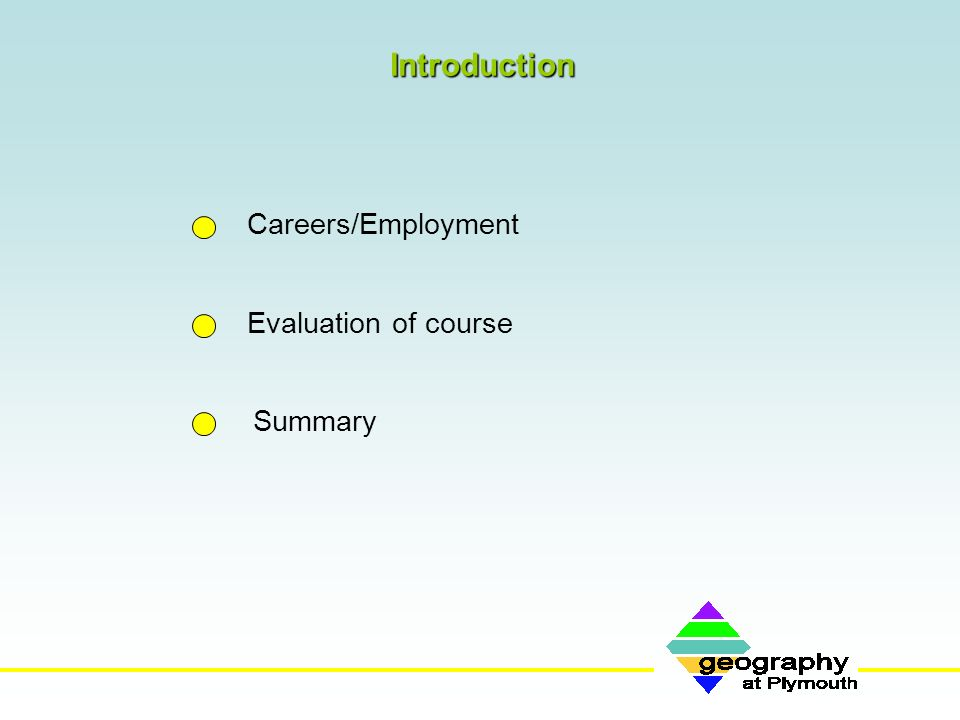 Introduction Careers/Employment Evaluation of course Summary
