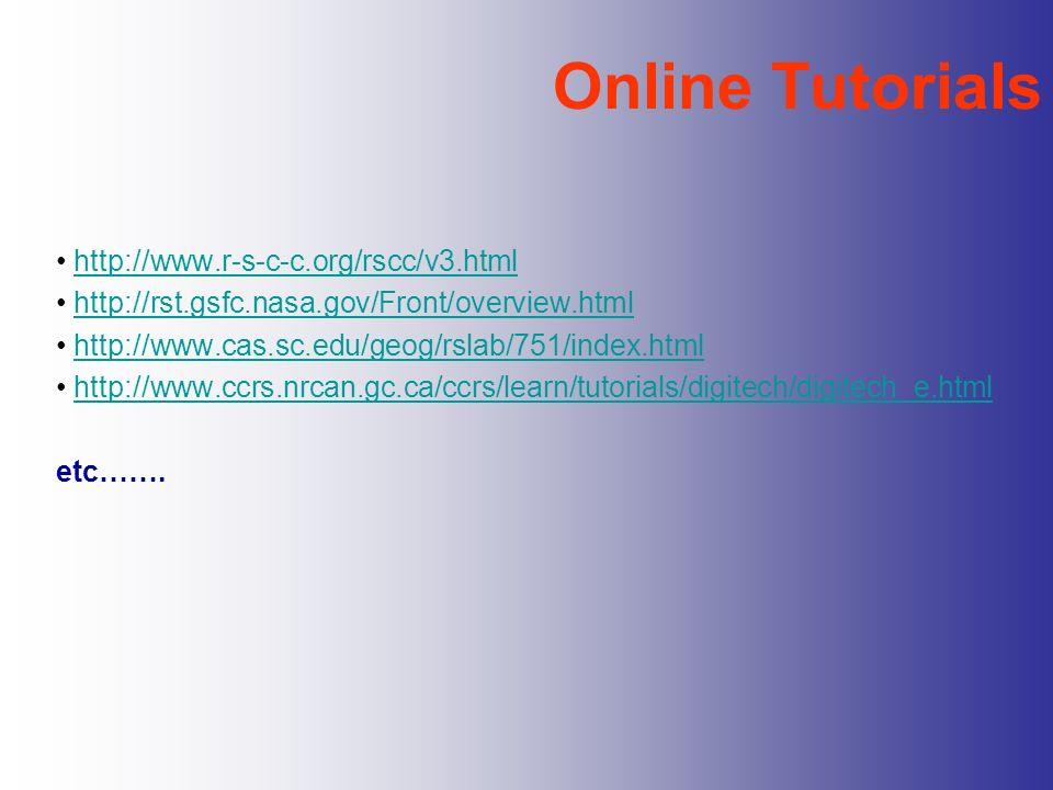 Online Tutorials http://www.r-s-c-c.org/rscc/v3.html http://rst.gsfc.nasa.gov/Front/overview.html http://www.cas.sc.edu/geog/rslab/751/index.html http