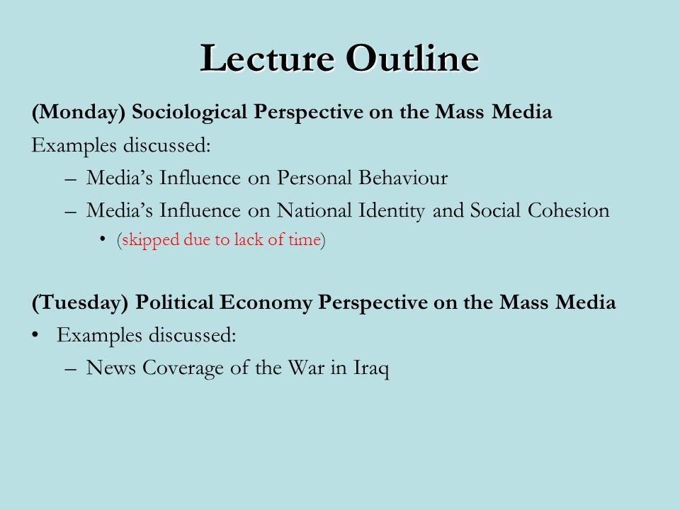 Sociological Model: Media Structure vs.