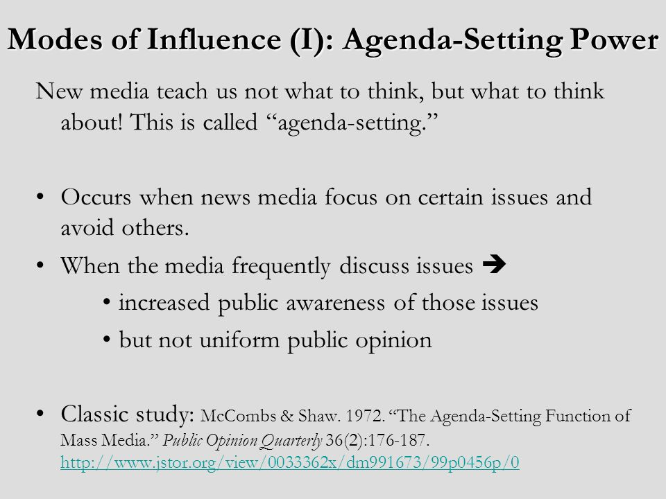 Modes of Influence (I): Agenda-Setting Power New media teach us not what to think, but what to think about.