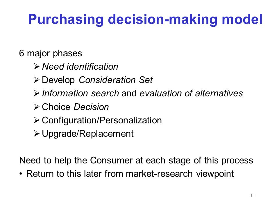 11 Purchasing decision-making model 6 major phases Need identification Develop Consideration Set Information search and evaluation of alternatives Cho