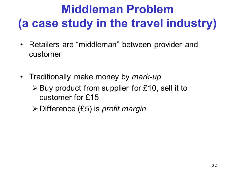 32 Middleman Problem (a case study in the travel industry) Retailers are middleman between provider and customer Traditionally make money by mark-up B