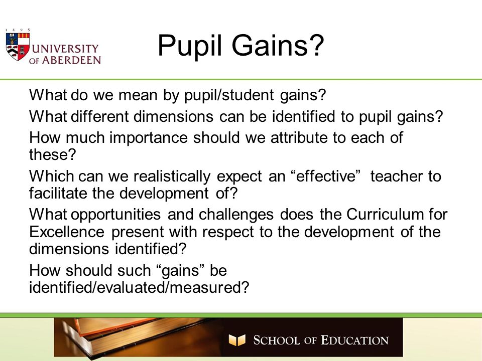 Pupil Gains? What do we mean by pupil/student gains? What different dimensions can be identified to pupil gains? How much importance should we attribu
