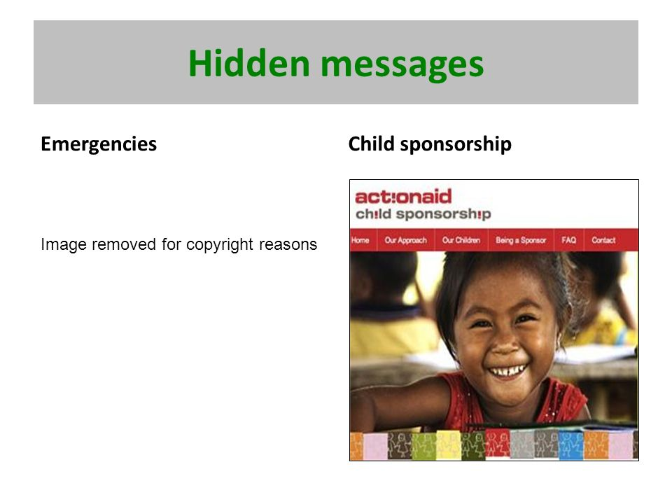 Hidden messages EmergenciesChild sponsorship Image removed for copyright reasons