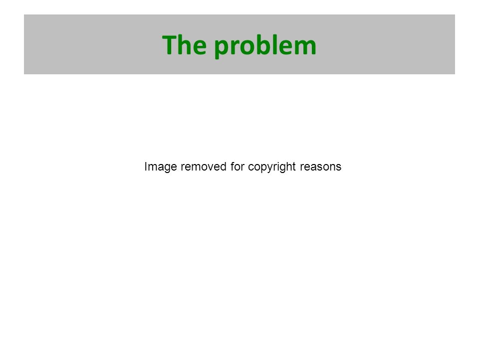 The problem Image removed for copyright reasons