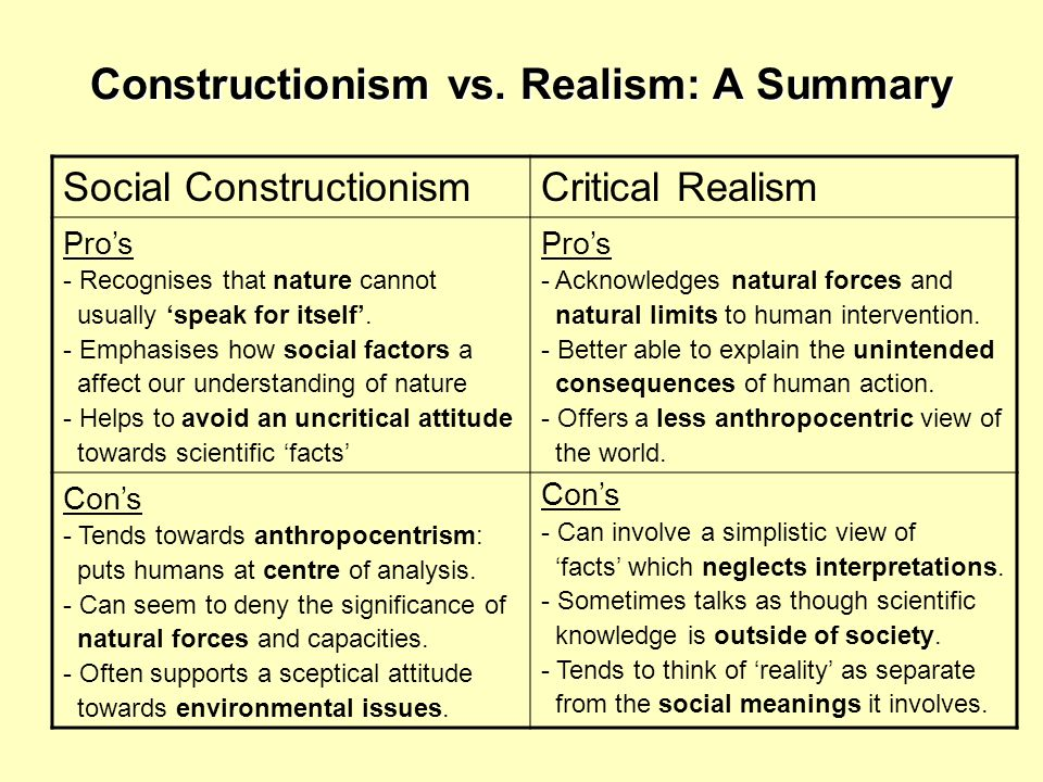 Constructionism vs. Realism: A Summary Social ConstructionismCritical Realism Pros - Recognises that nature cannot usually speak for itself. - Emphasi