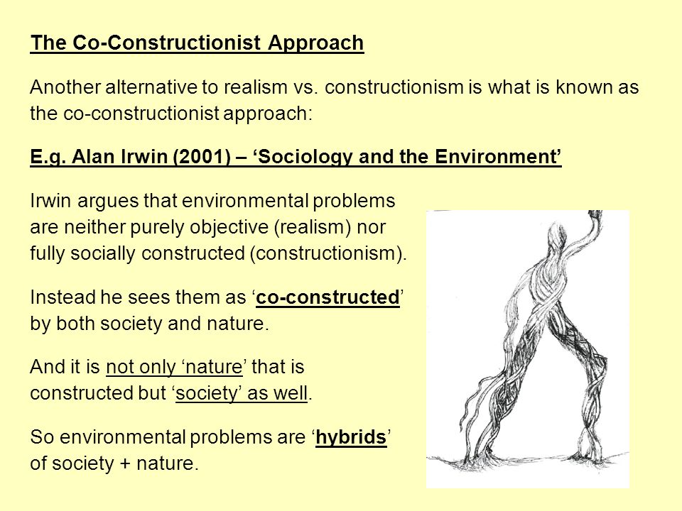 The Co-Constructionist Approach Another alternative to realism vs. constructionism is what is known as the co-constructionist approach: E.g. Alan Irwi
