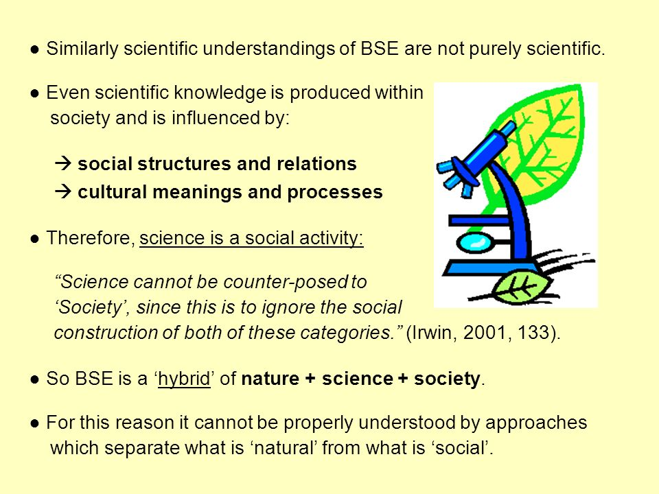 Similarly scientific understandings of BSE are not purely scientific. Even scientific knowledge is produced within society and is influenced by: socia