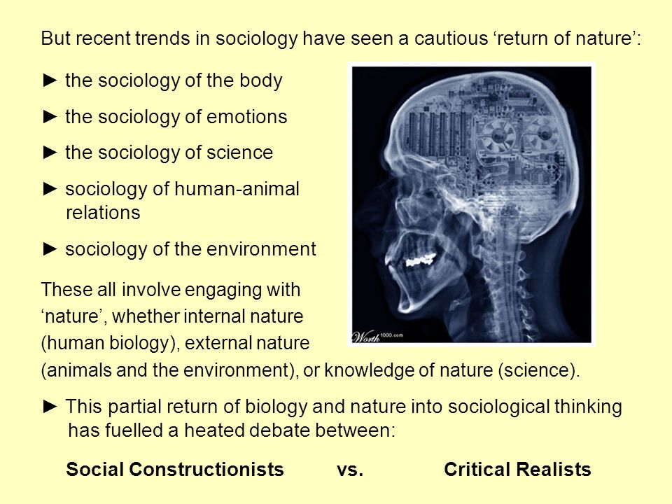 But recent trends in sociology have seen a cautious return of nature: the sociology of the body the sociology of emotions the sociology of science soc