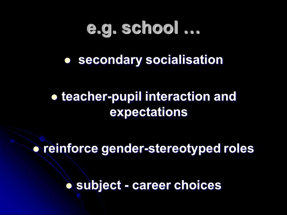 e.g. school … secondary socialisation secondary socialisation teacher-pupil interaction and expectations teacher-pupil interaction and expectations re