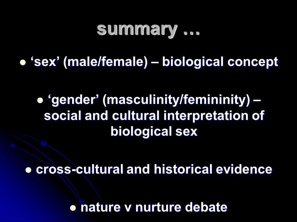 summary … sex (male/female) – biological concept sex (male/female) – biological concept gender (masculinity/femininity) – social and cultural interpre