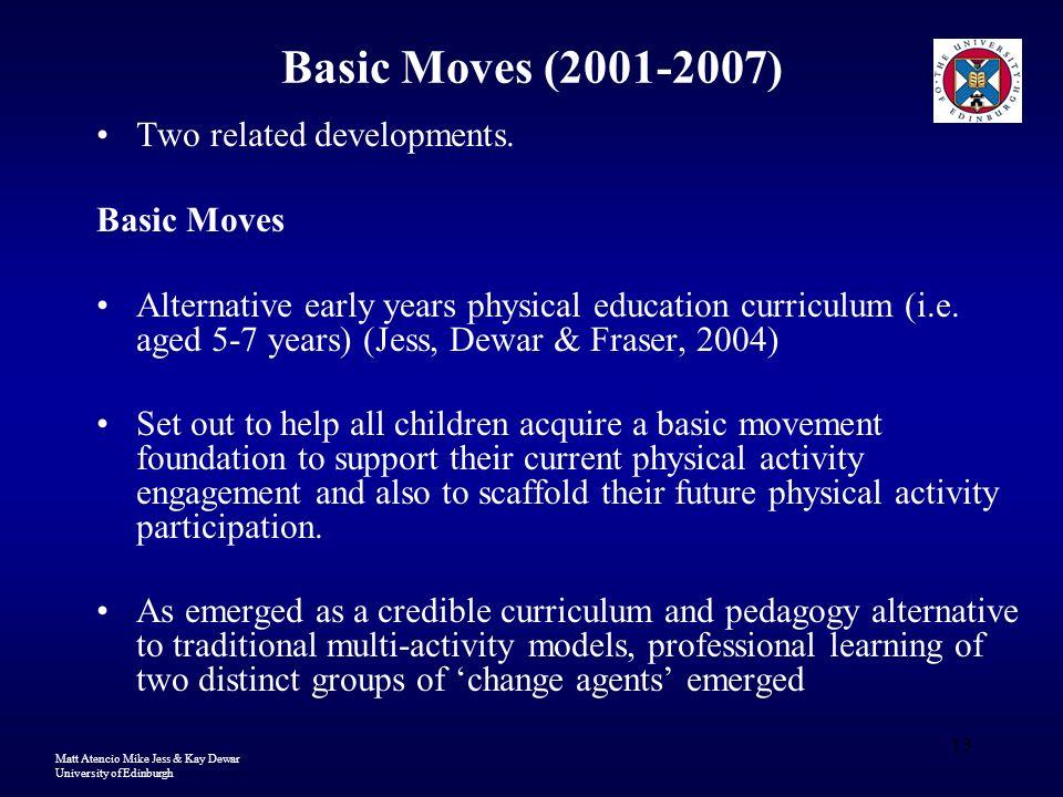 Matt Atencio Mike Jess & Kay Dewar University of Edinburgh 13 Basic Moves (2001-2007) Two related developments. Basic Moves Alternative early years ph