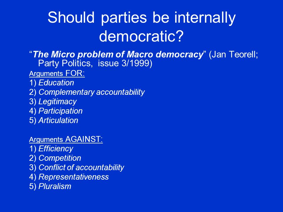 Should parties be internally democratic.
