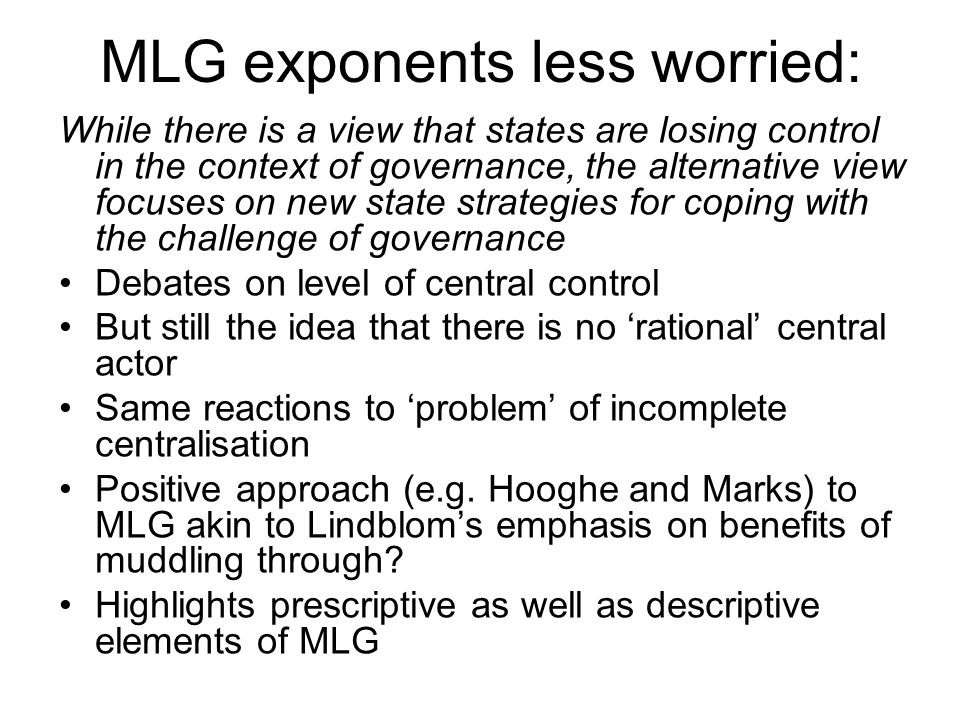 Issues with MLG Careful with definition – not just multi-level government Does MLG suggest pluralism.
