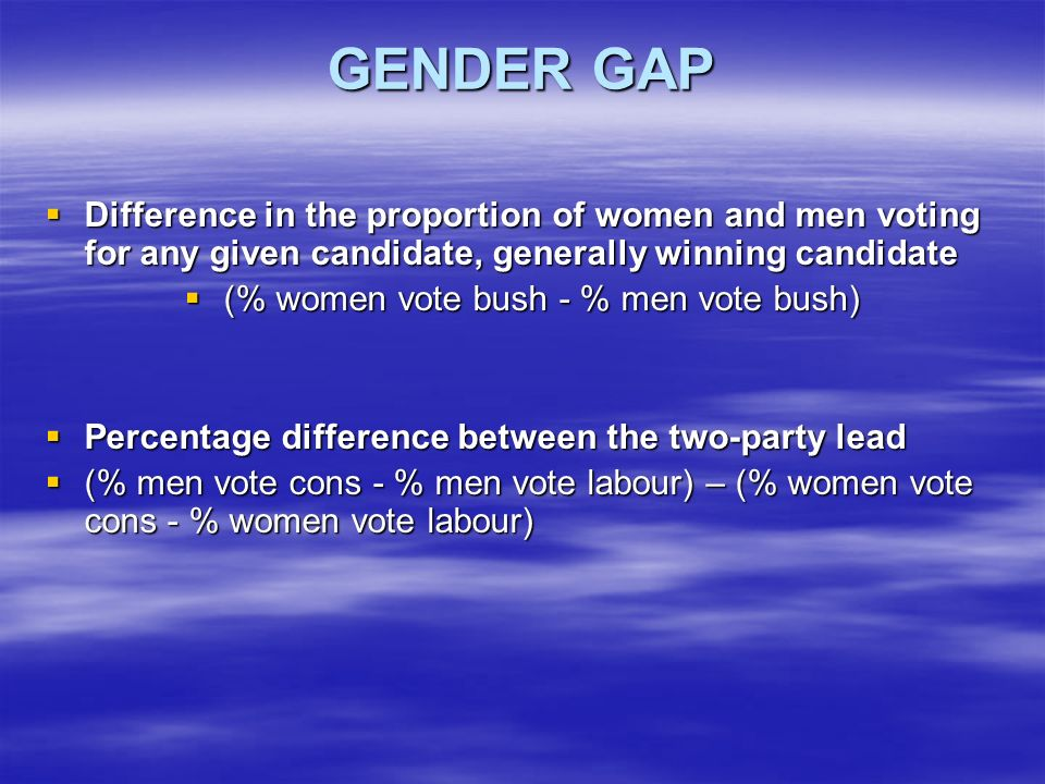 GENDER GAP Difference in the proportion of women and men voting for any given candidate, generally winning candidate Difference in the proportion of women and men voting for any given candidate, generally winning candidate (% women vote bush - % men vote bush) (% women vote bush - % men vote bush) Percentage difference between the two-party lead Percentage difference between the two-party lead (% men vote cons - % men vote labour) – (% women vote cons - % women vote labour) (% men vote cons - % men vote labour) – (% women vote cons - % women vote labour)