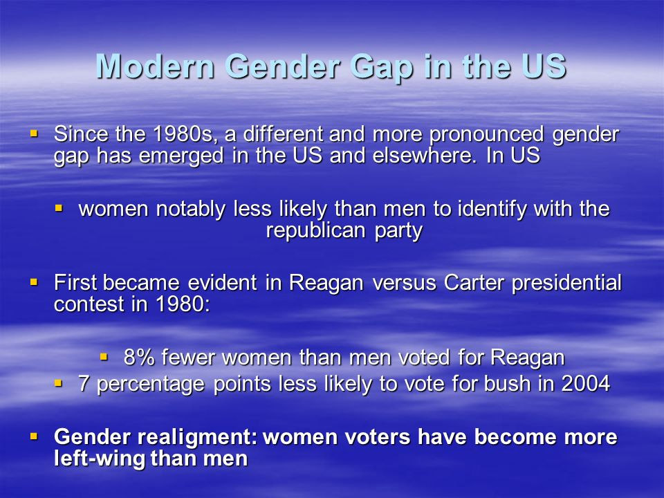 Modern Gender Gap in the US Since the 1980s, a different and more pronounced gender gap has emerged in the US and elsewhere.