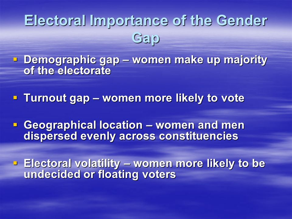 Electoral Importance of the Gender Gap Demographic gap – women make up majority of the electorate Demographic gap – women make up majority of the electorate Turnout gap – women more likely to vote Turnout gap – women more likely to vote Geographical location – women and men dispersed evenly across constituencies Geographical location – women and men dispersed evenly across constituencies Electoral volatility – women more likely to be undecided or floating voters Electoral volatility – women more likely to be undecided or floating voters