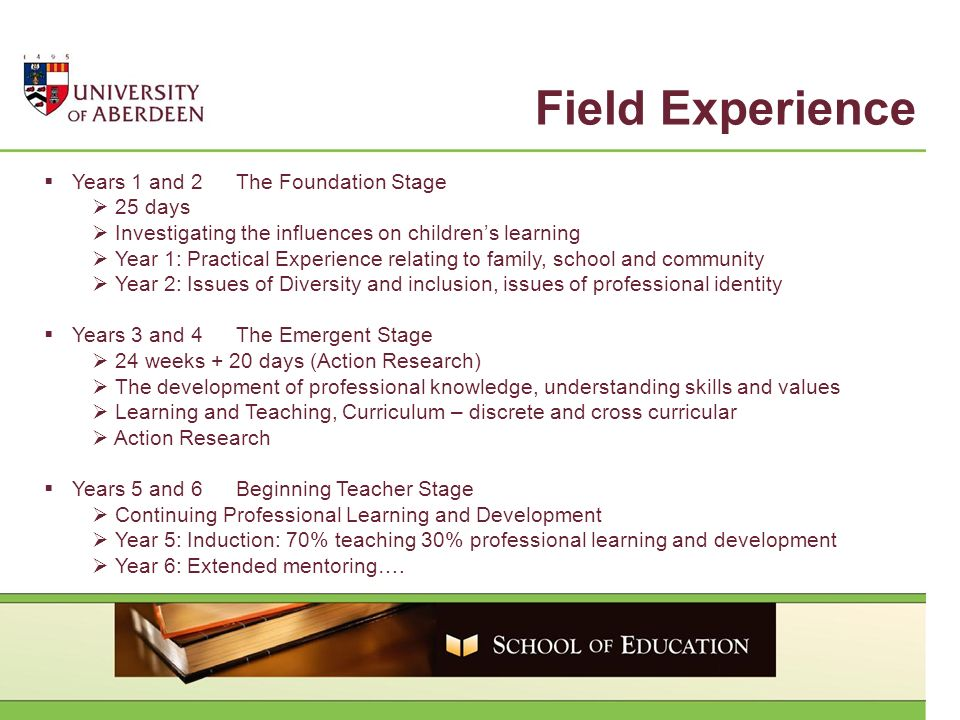 Field Experience Years 1 and 2The Foundation Stage 25 days Investigating the influences on childrens learning Year 1: Practical Experience relating to