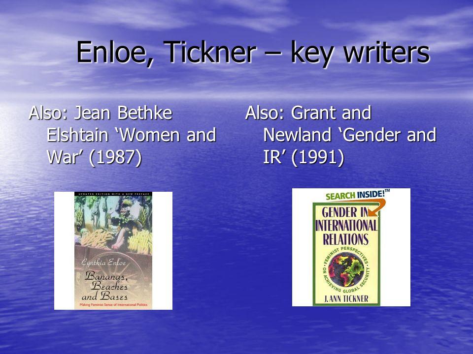 Enloe, Tickner – key writers Also: Jean Bethke Elshtain Women and War (1987) Also: Grant and Newland Gender and IR (1991)