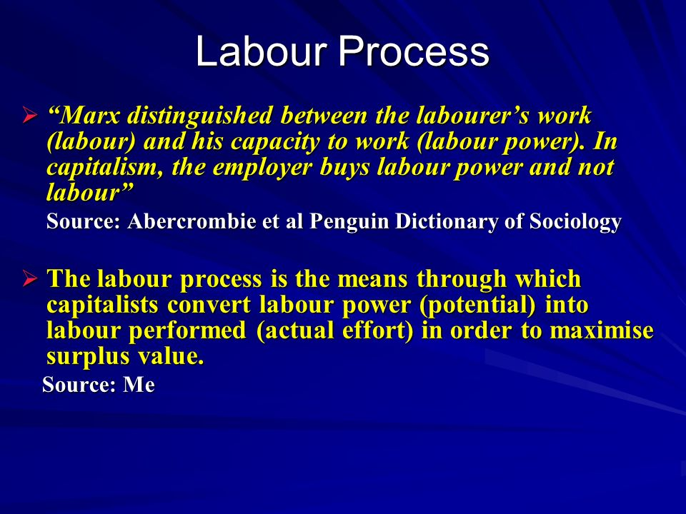 Labour Process Marx distinguished between the labourers work (labour) and his capacity to work (labour power).
