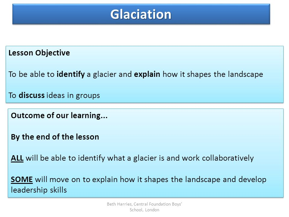 Lesson Objective To be able to identify a glacier and explain how it shapes the landscape To discuss ideas in groups Lesson Objective To be able to id