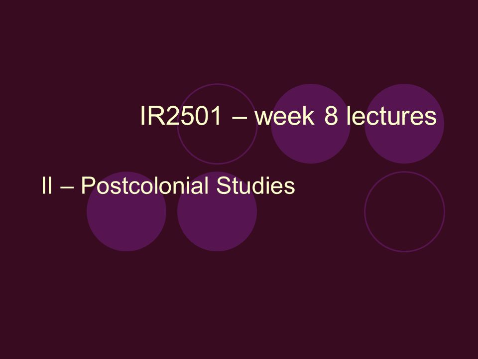 IR2501 – week 8 lectures II – Postcolonial Studies
