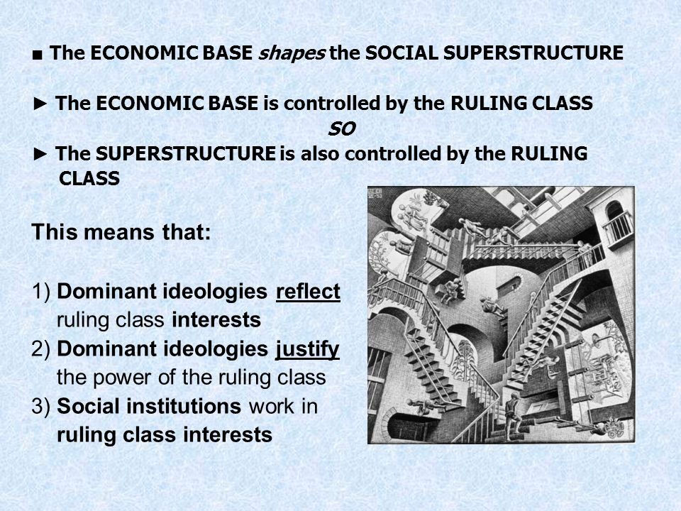 The ECONOMIC BASE shapes the SOCIAL SUPERSTRUCTURE The ECONOMIC BASE is controlled by the RULING CLASS SO The SUPERSTRUCTURE is also controlled by the
