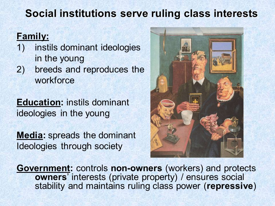 Social institutions serve ruling class interests Family: 1)instils dominant ideologies in the young 2)breeds and reproduces the workforce Education: i