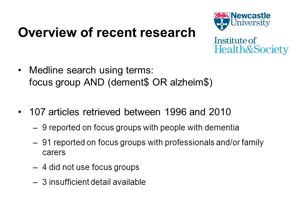 Impact of severity of cognitive impairment MCI groups more able to engage in discussion than AD groups (Frank et al 2006) People with moderate & severe dementia were able to talk about their quality of life (Byrne-Davis et al 2006) Not always easy to understand the verbal content of residents with lower MMSE scores (Harmer & Orrell 2008) Content of groups of people with dementia living in residential care was impoverished (MacPherson et al 2009)