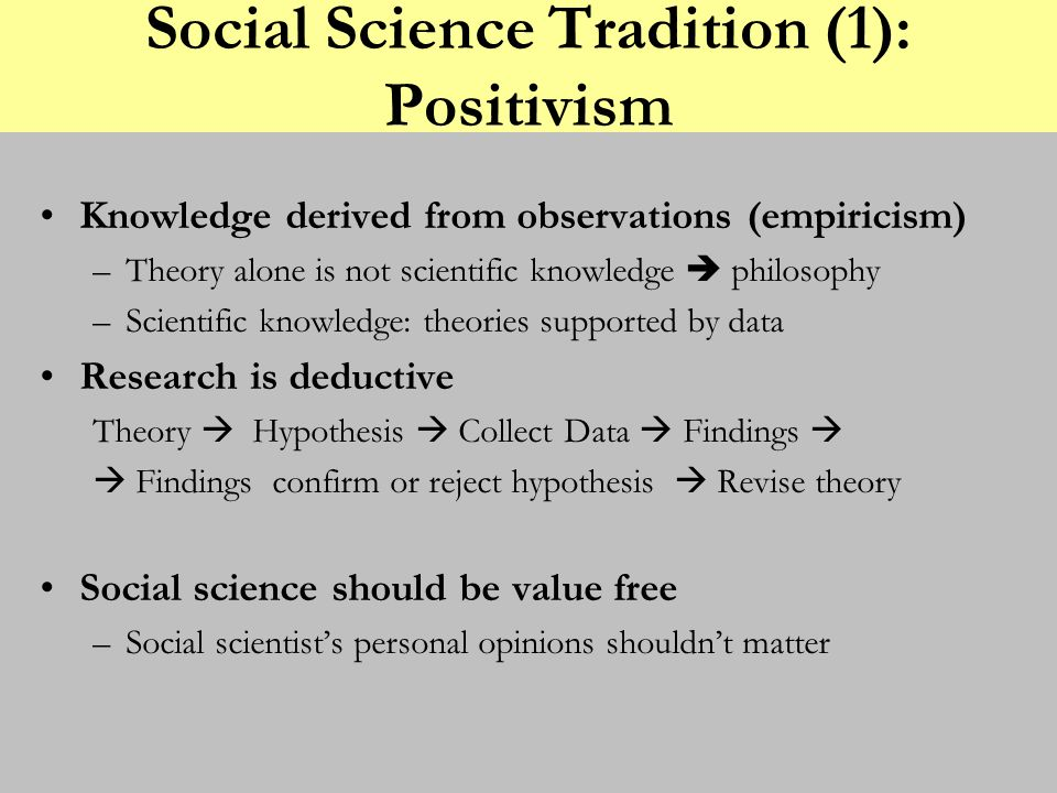 Social Science Tradition (1): Positivism Knowledge derived from observations (empiricism) –Theory alone is not scientific knowledge philosophy –Scient