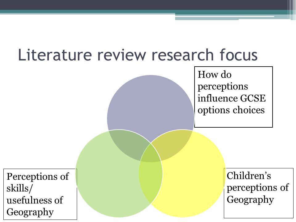 Literature review research focus Childrens perceptions of Geography Perceptions of skills/ usefulness of Geography How do perceptions influence GCSE options choices
