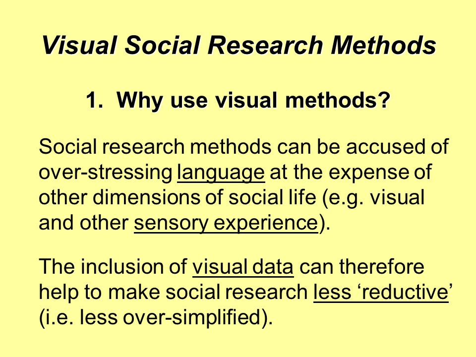 Visual Social Research Methods 1.Why use visual methods.