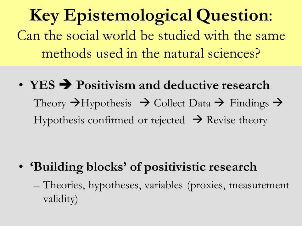Key Epistemological Question: Can the social world be studied with the same methods used in the natural sciences? YES Positivism and deductive researc
