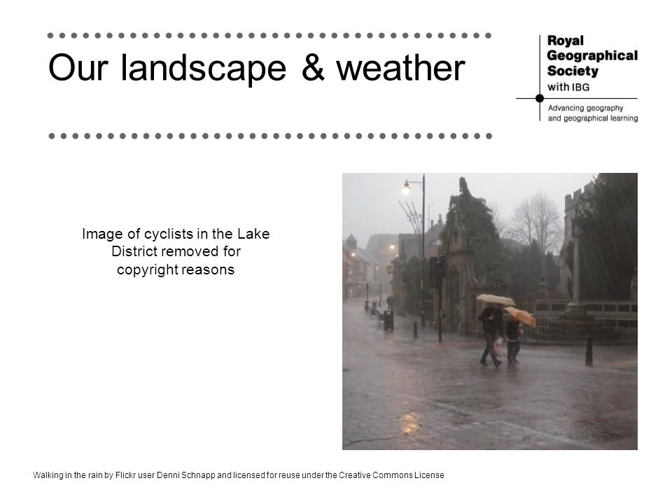 Our landscape & weather Walking in the rain by Flickr user Denni Schnapp and licensed for reuse under the Creative Commons License Image of cyclists i