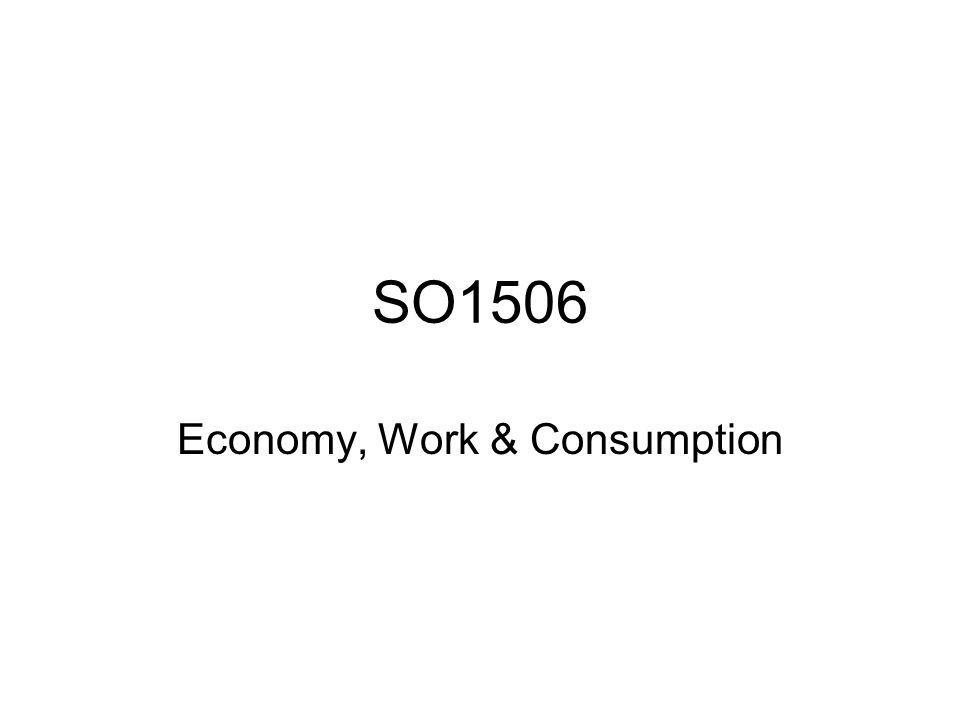 SO1506 Economy, Work & Consumption