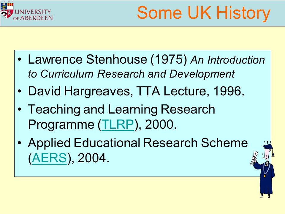 Some UK History Lawrence Stenhouse (1975) An Introduction to Curriculum Research and Development David Hargreaves, TTA Lecture, 1996.