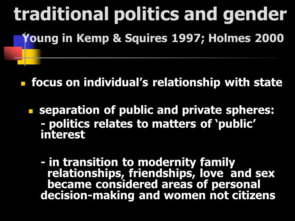 traditional politics and gender Young in Kemp & Squires 1997; Holmes 2000 focus on individuals relationship with state separation of public and private spheres: - politics relates to matters of public interest - in transition to modernity family relationships, friendships, love and sex became considered areas of personal decision-making and women not citizens