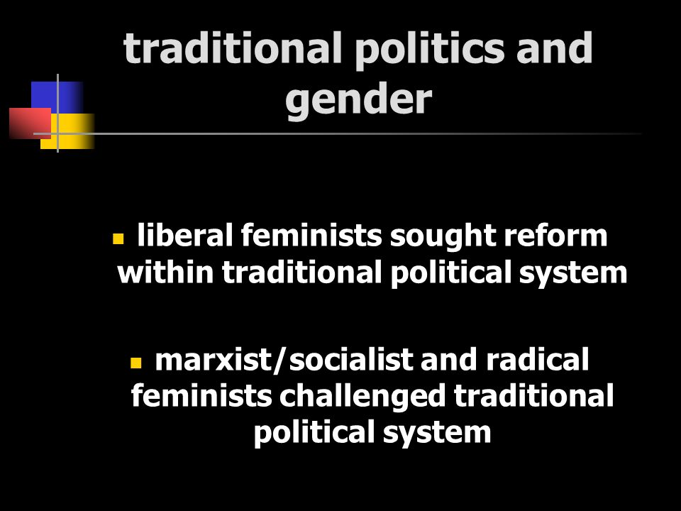 traditional politics and gender liberal feminists sought reform within traditional political system marxist/socialist and radical feminists challenged traditional political system