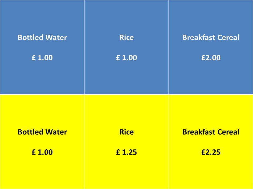 Bottled Water £ 1.00 Rice £ 1.00 Breakfast Cereal £2.00 Bottled Water £ 1.00 Rice £ 1.25 Breakfast Cereal £2.25