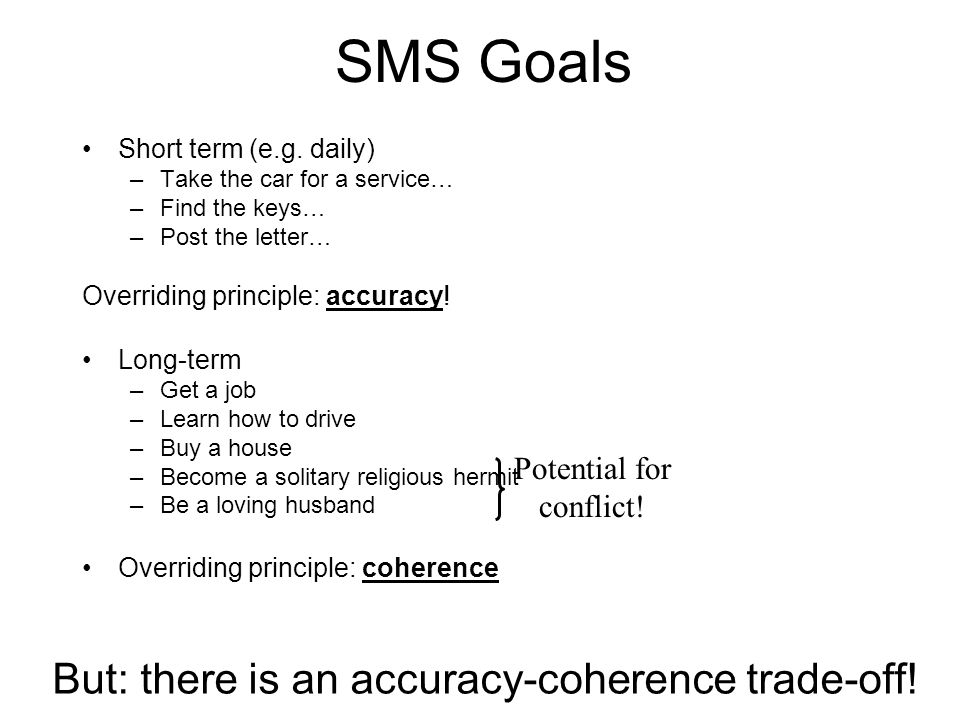 SMS Goals Short term (e.g. daily) –Take the car for a service… –Find the keys… –Post the letter… Overriding principle: accuracy! Long-term –Get a job