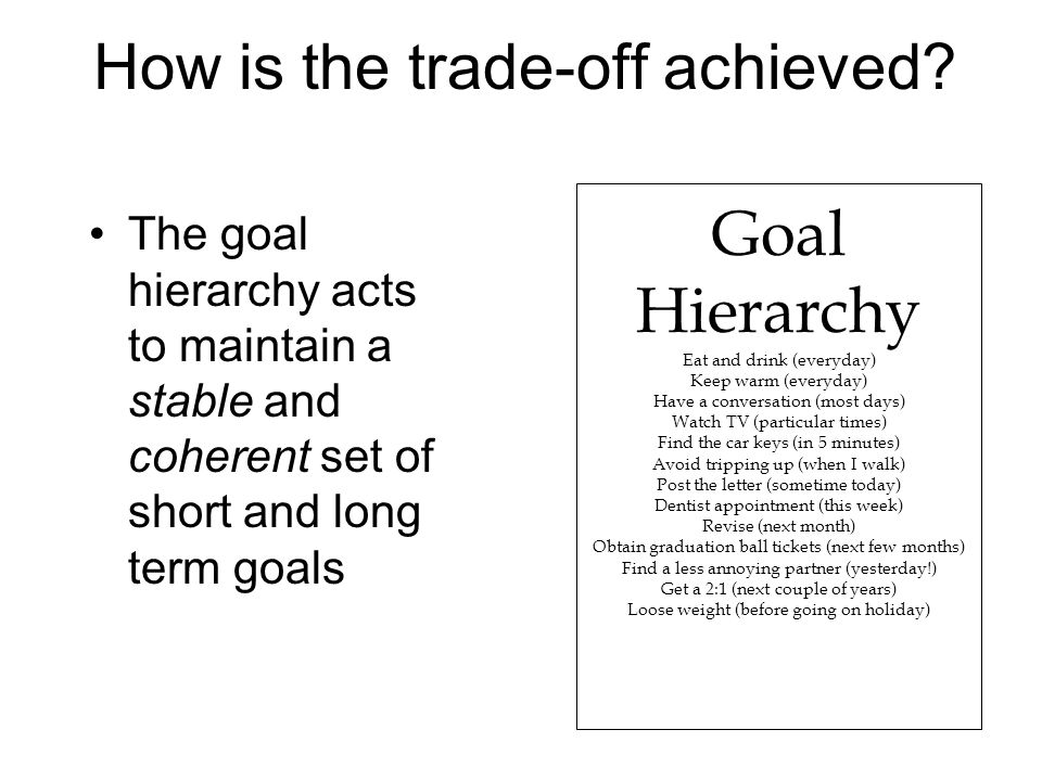 How is the trade-off achieved? The goal hierarchy acts to maintain a stable and coherent set of short and long term goals Goal Hierarchy Eat and drink