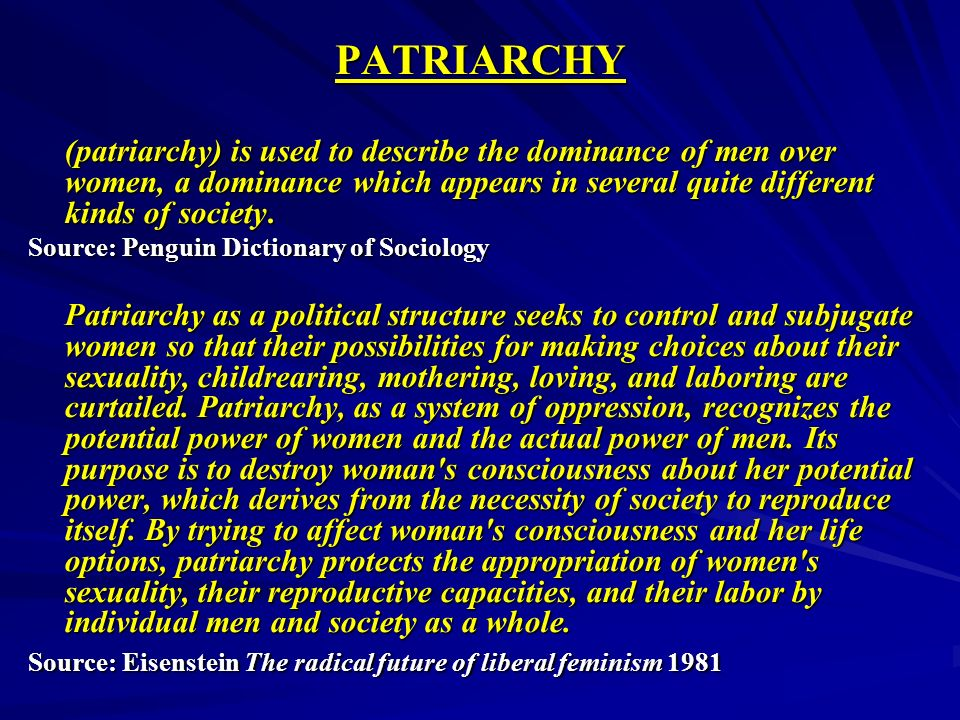 PATRIARCHY (patriarchy) is used to describe the dominance of men over women, a dominance which appears in several quite different kinds of society.