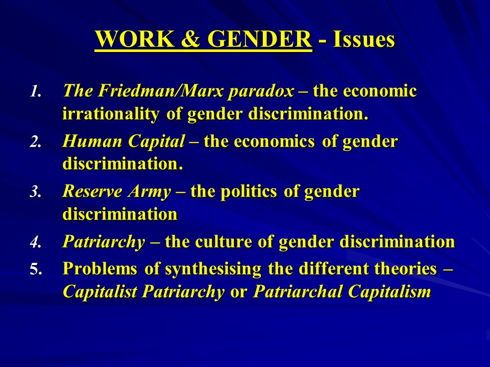 WORK & GENDER - Issues 1.