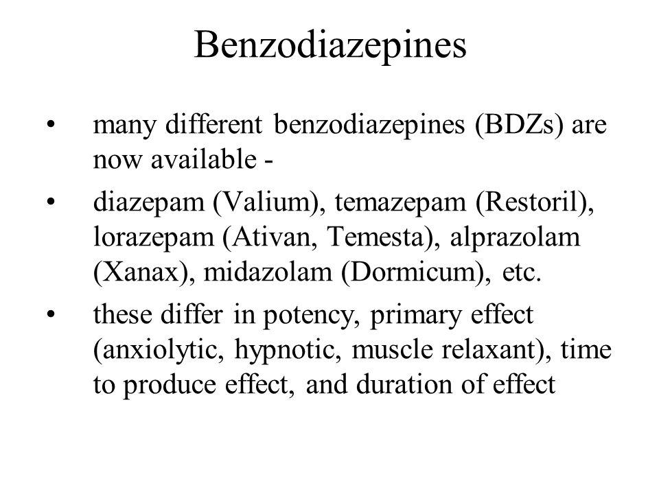 Benzodiazepines many different benzodiazepines (BDZs) are now available - diazepam (Valium), temazepam (Restoril), lorazepam (Ativan, Temesta), alpraz