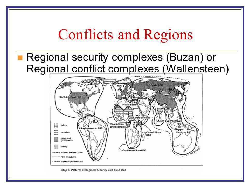 Conflicts and Regions Regional security complexes (Buzan) or Regional conflict complexes (Wallensteen)