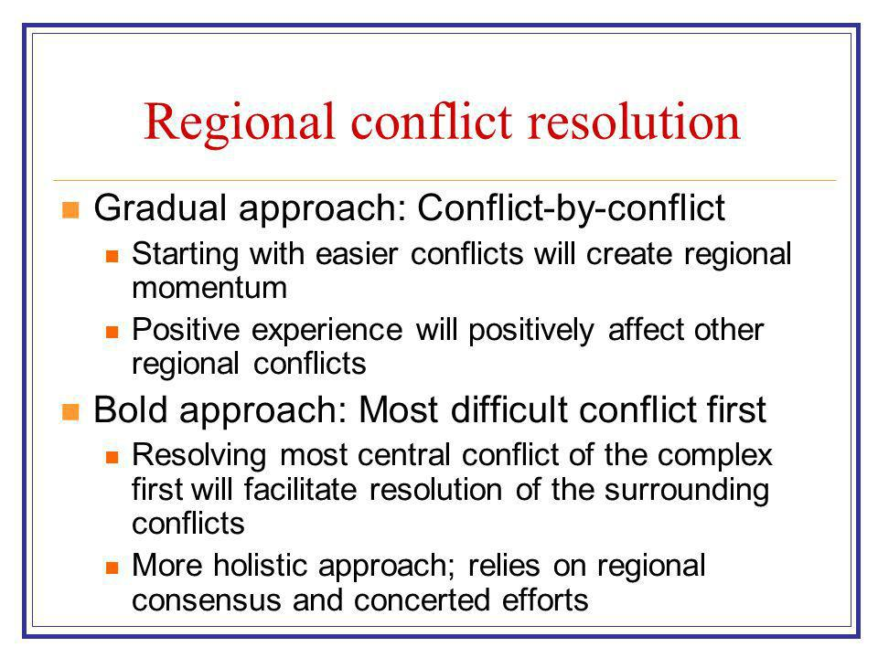 Regional conflict resolution Gradual approach: Conflict-by-conflict Starting with easier conflicts will create regional momentum Positive experience will positively affect other regional conflicts Bold approach: Most difficult conflict first Resolving most central conflict of the complex first will facilitate resolution of the surrounding conflicts More holistic approach; relies on regional consensus and concerted efforts